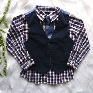 Nautica plaid shirt vest and tie outfit